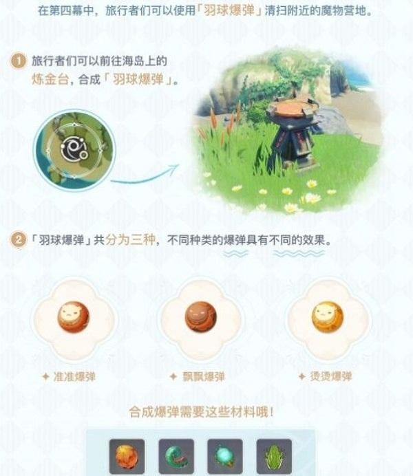 原神手游怎么合成羽球爆弹 羽球爆弹详细作用分享